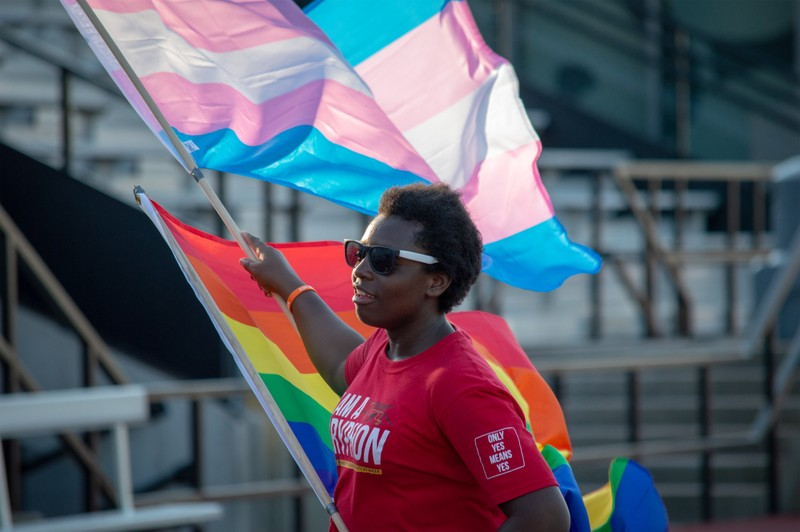 Person holding pride flags.